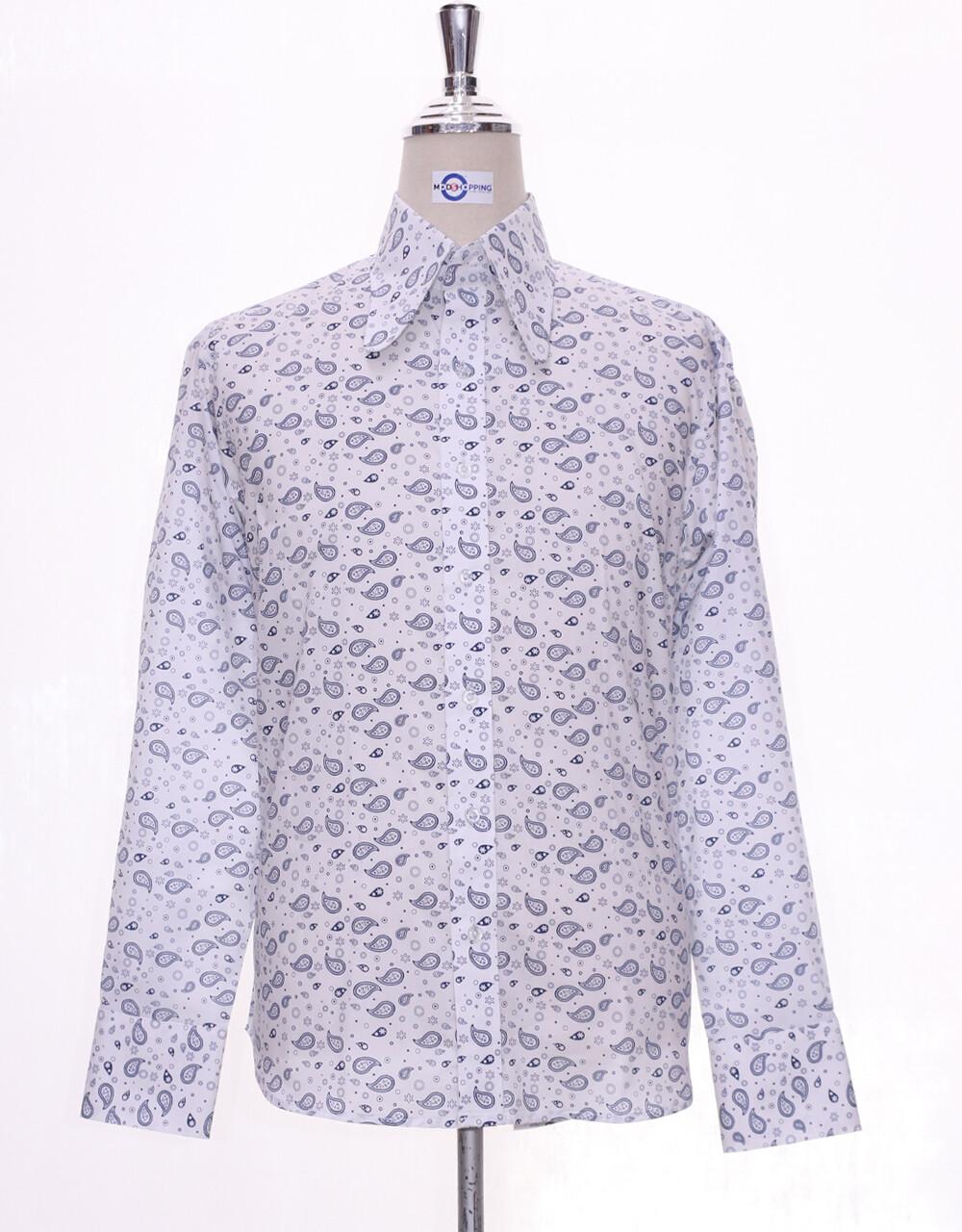 Hight Collar Shirt    White Small Paisley Shirt
