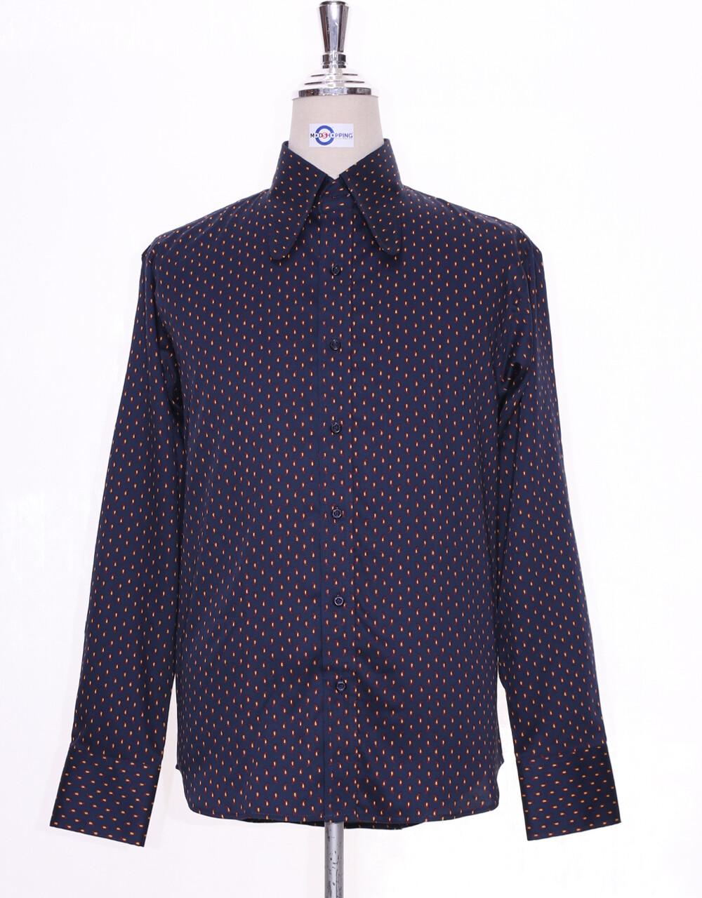 Hight Collar Shirt  | Navy Blue Small Paisley Shirt