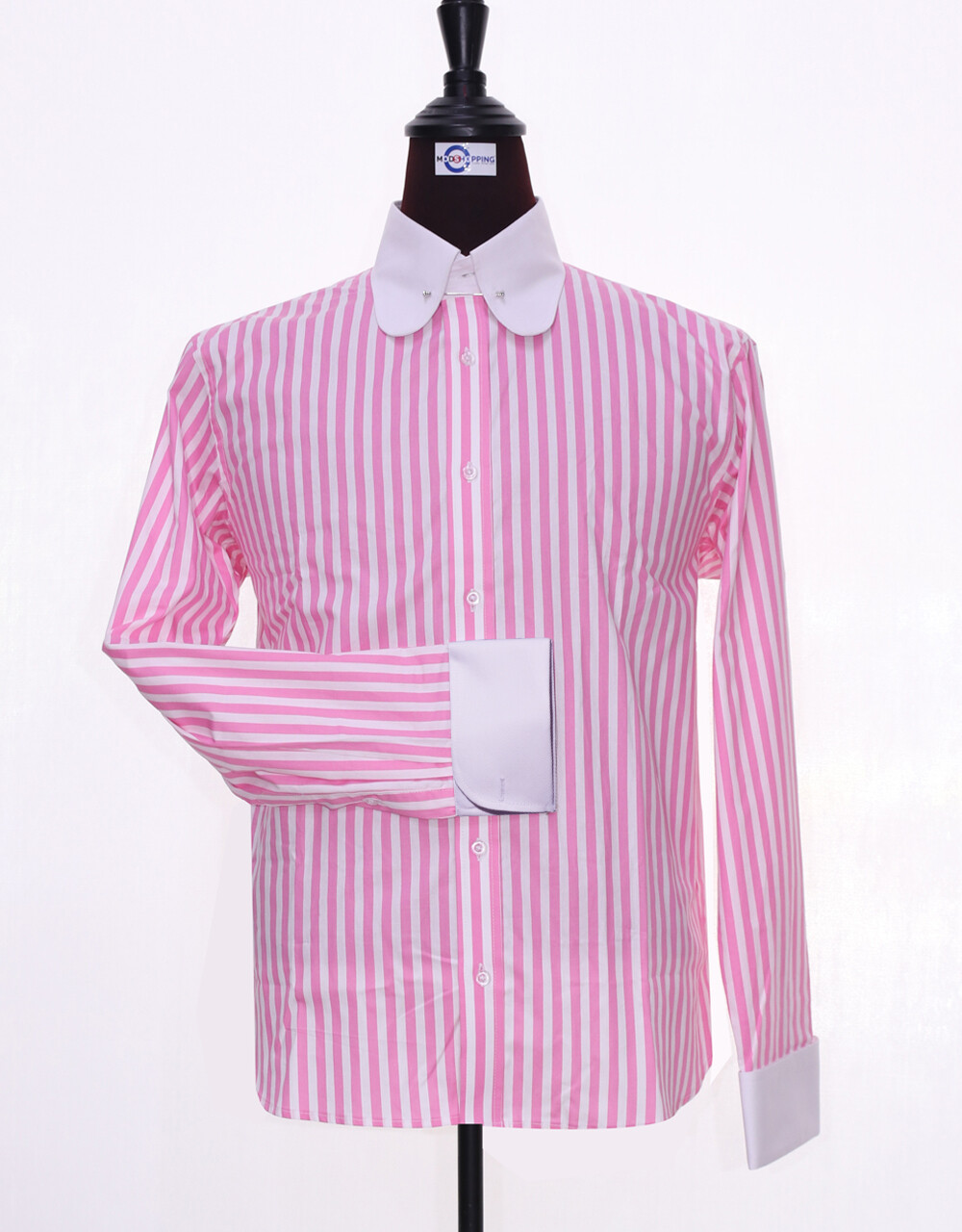 60's Style Pink And White Stripe Men Shirt