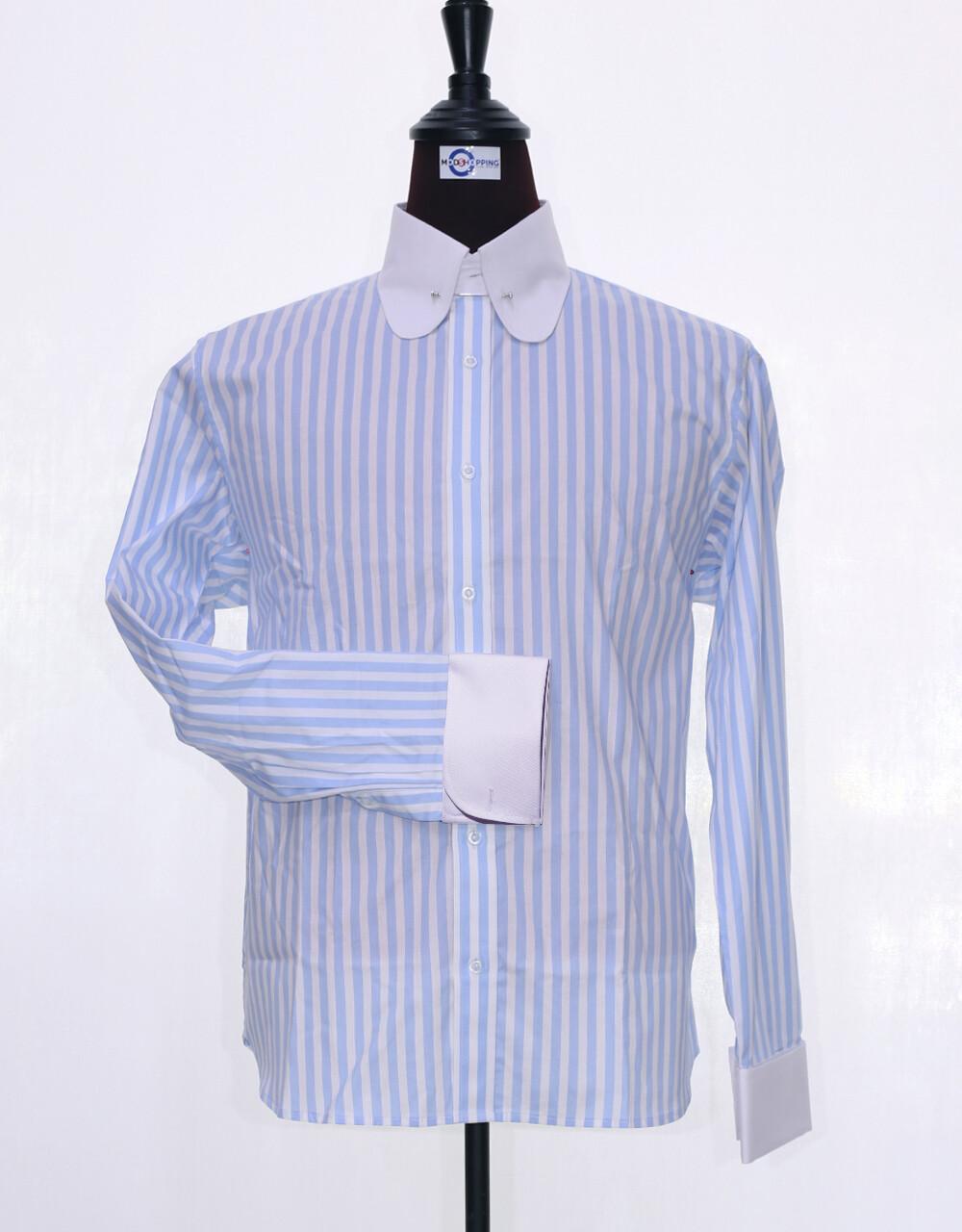 60's Style Light Sky Blue And White Stripe Men Shirt