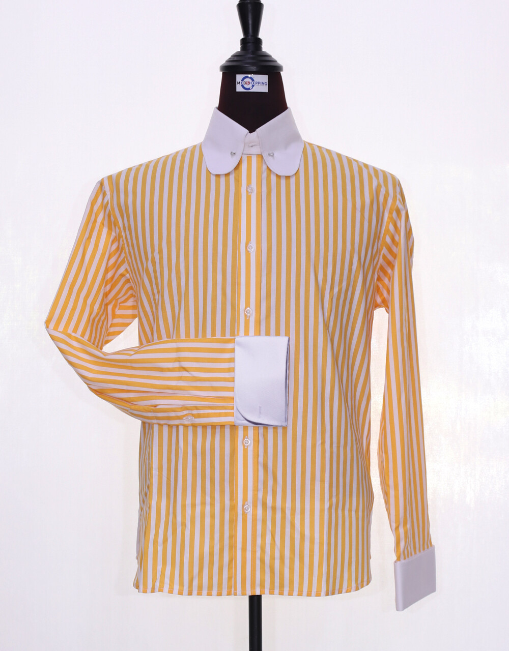 60's Style Orange And White Stripe Men Shirt