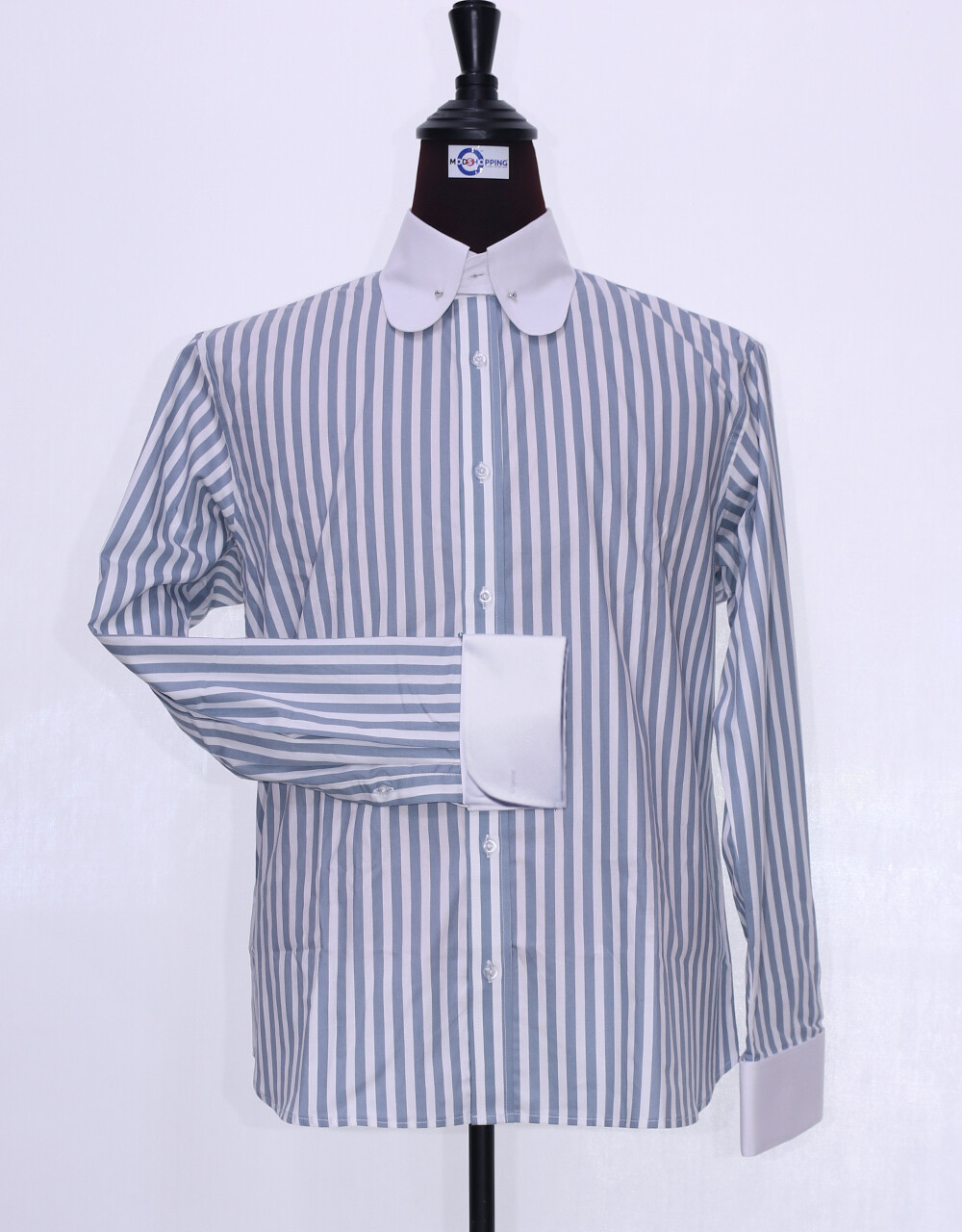 60's Style Grey And White Stripe Men Shirt