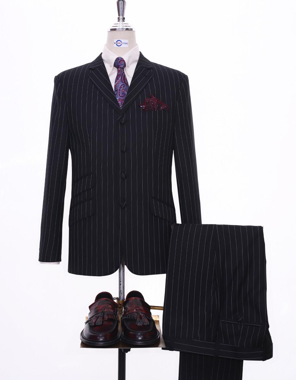 Pinstripe Suit | 60s Style Black Pinstripe 4 Button Suit