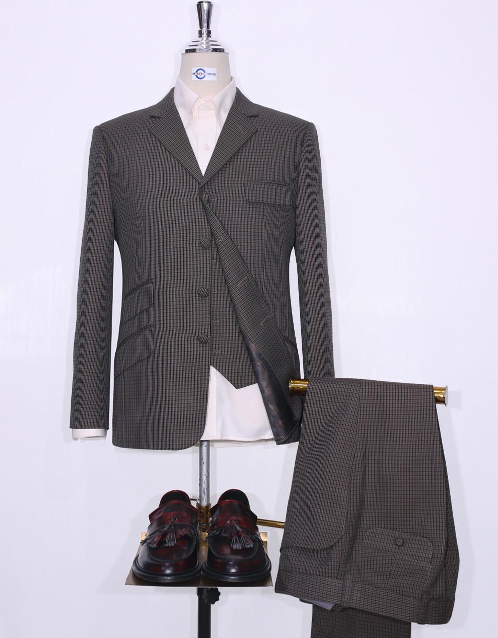 3 Piece Suit | Dark Brown And Black Houndstooth Suit
