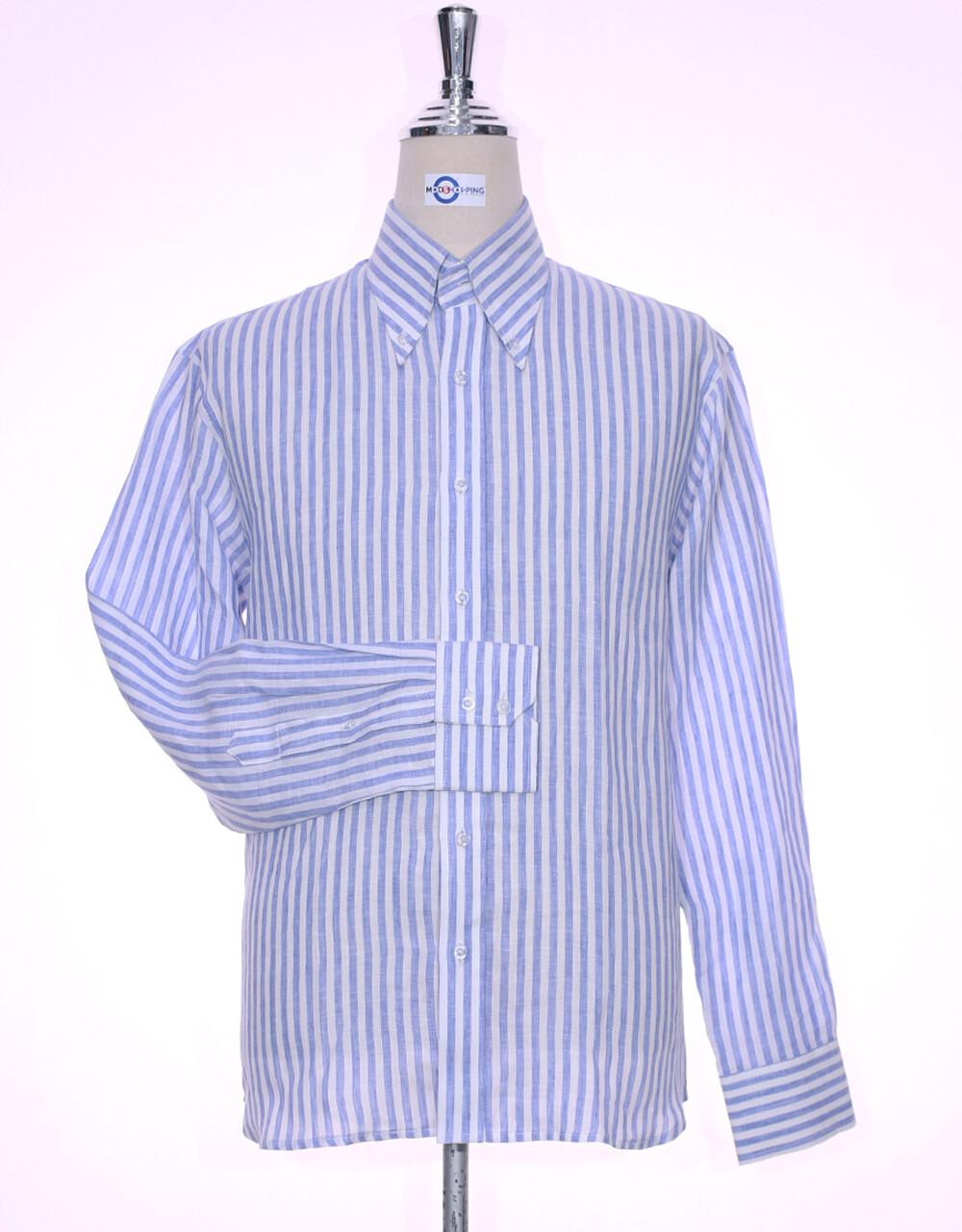 Original Linen Shirt   Sky Blue Striped Linen Men Shirt