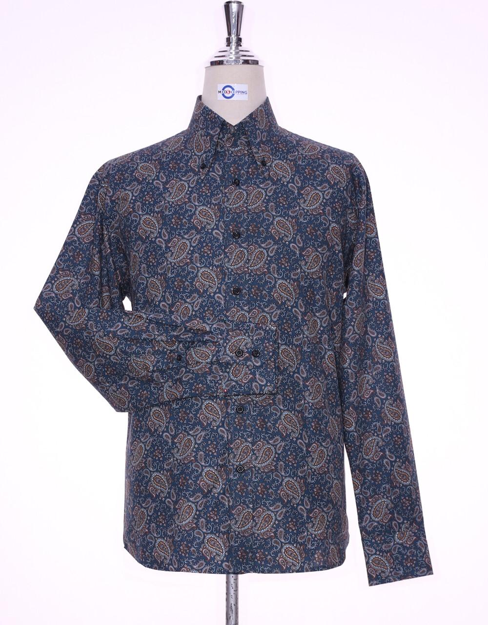 Paisley Shirt   60s Style Multi Color Paisley Men Shirt