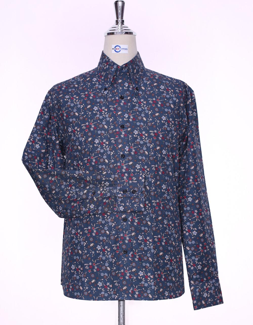 Floral Shirt | 60s Style Multi Color Floral Print Men Shirt
