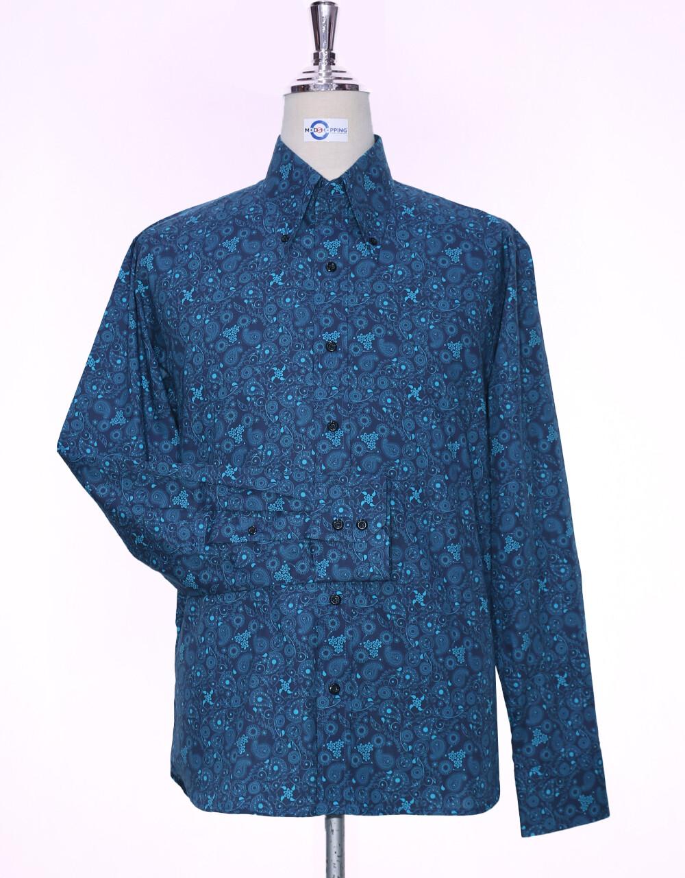Paisley Shirt | 60s Style Navy Blue Paisley Shirt For Men