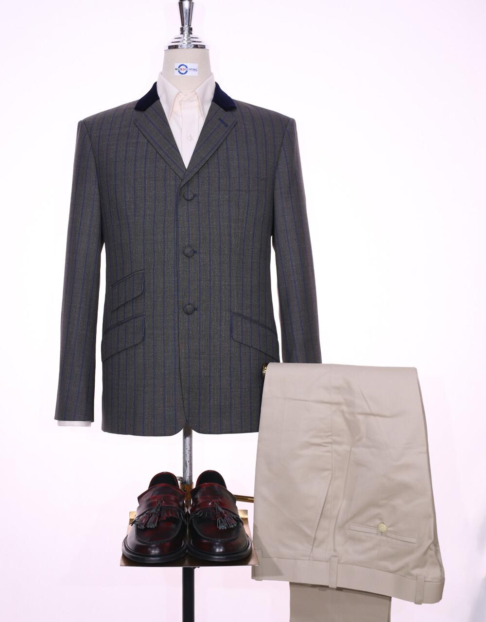 Grey And Navy Blue Stripe Jacket | 60s Style Jacket
