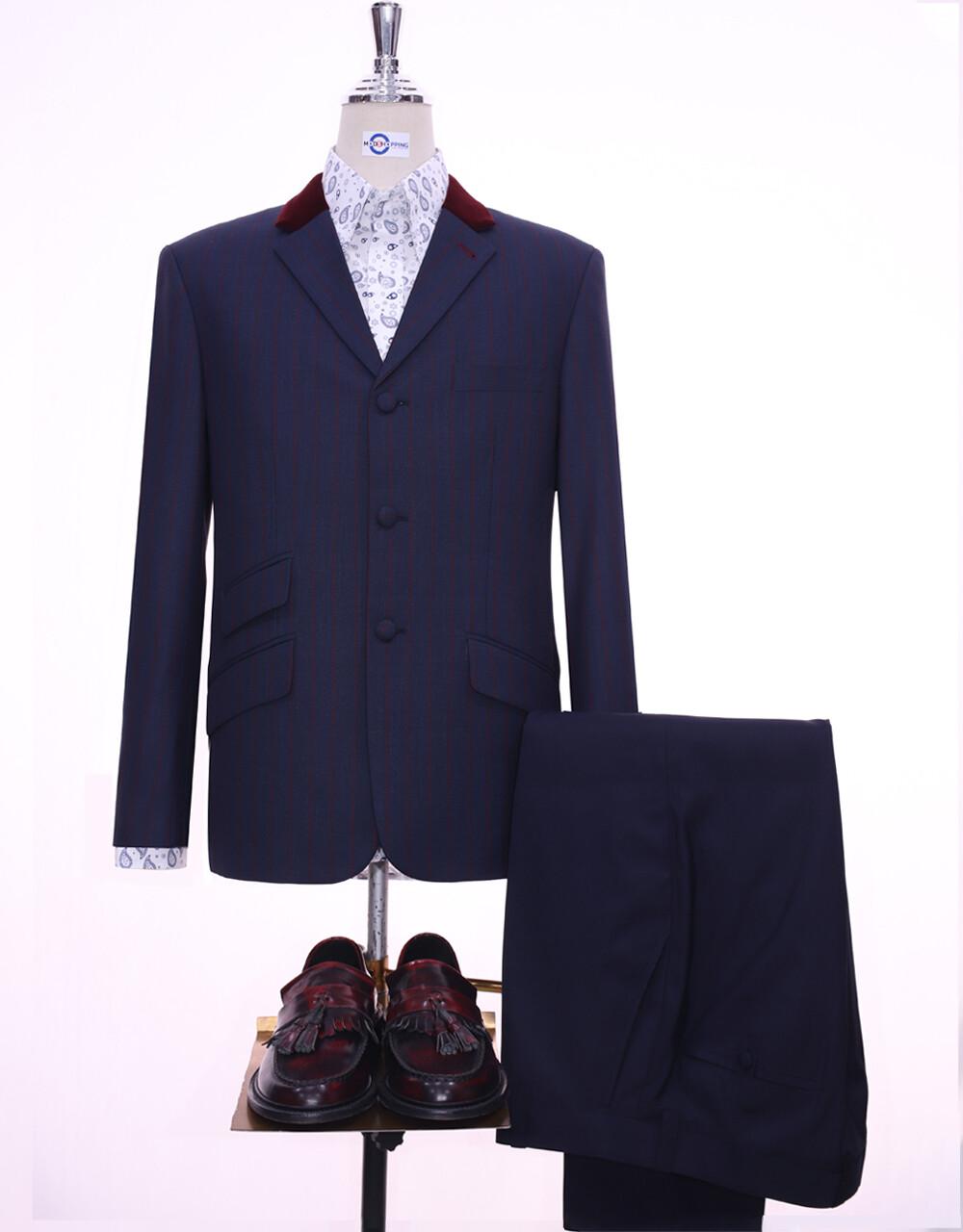 Navy Blue And Burgundy Stripe Jacket   60s Style Jacket