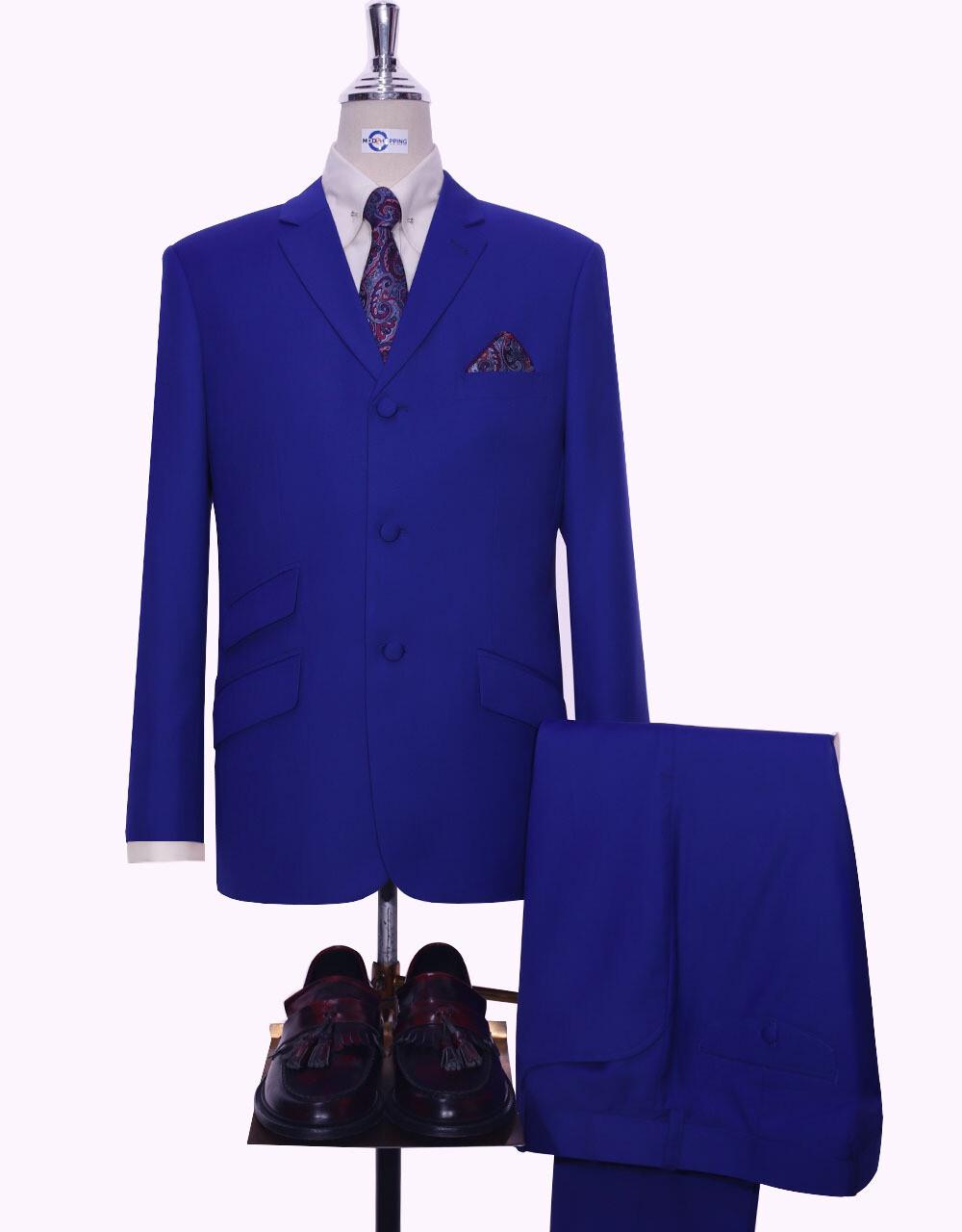 Mod Suit | Royal Blue Plain Color 3 Button Suit