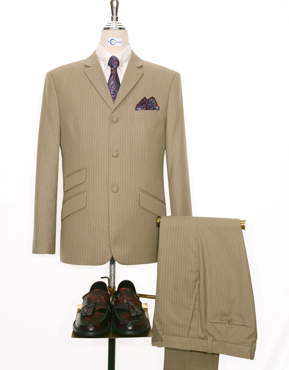 Pinstripe Suit | Beige Pinstripe 3 Button Mod Suit