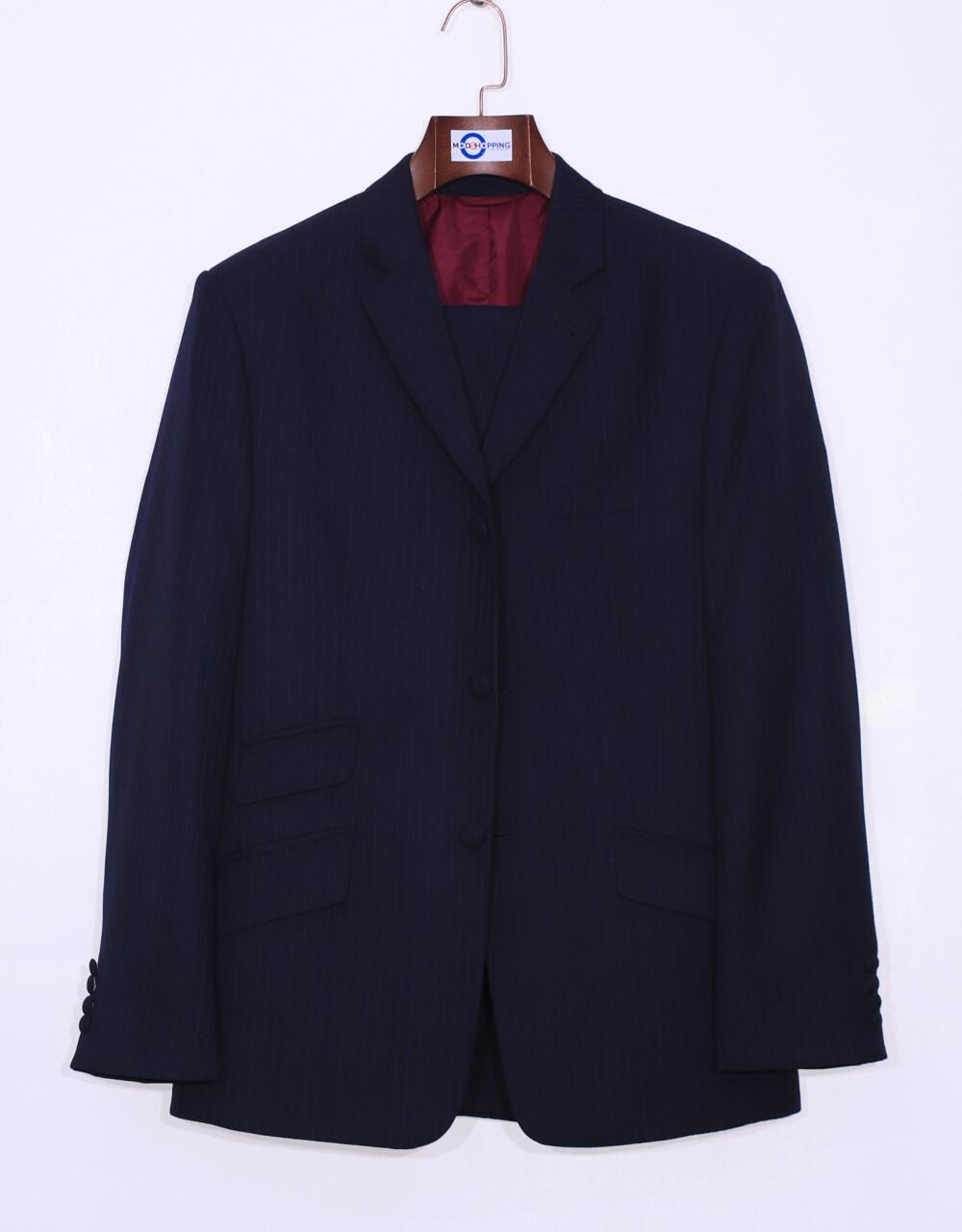 Pinstripe Suit | Dark Blue Pinstripe 3 Button Mod Suit