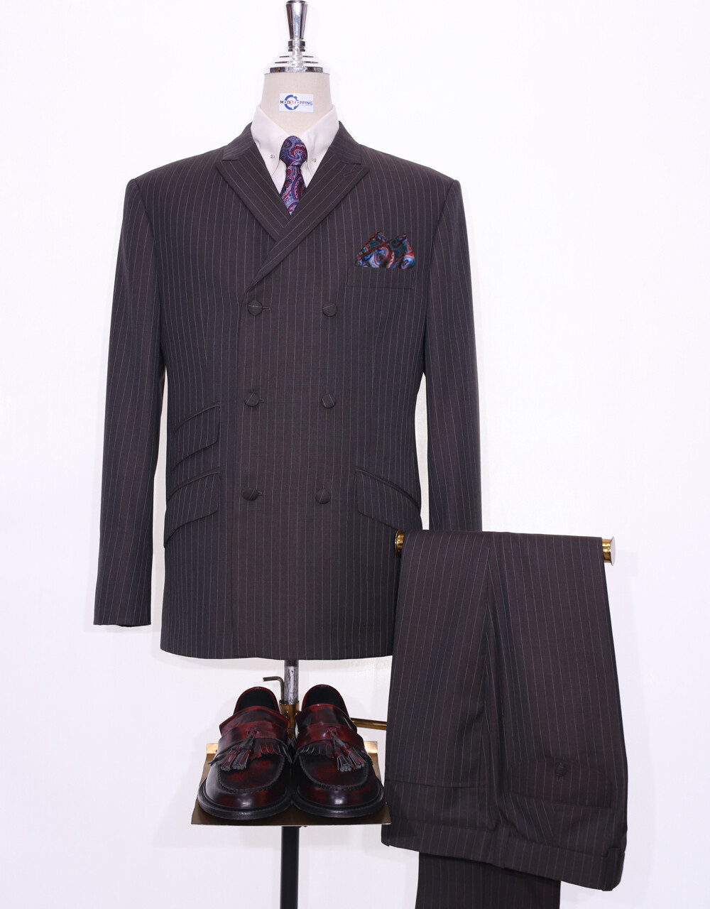 Double Breasted Suits | Chocolate Brown Pinstripe Mod Suit