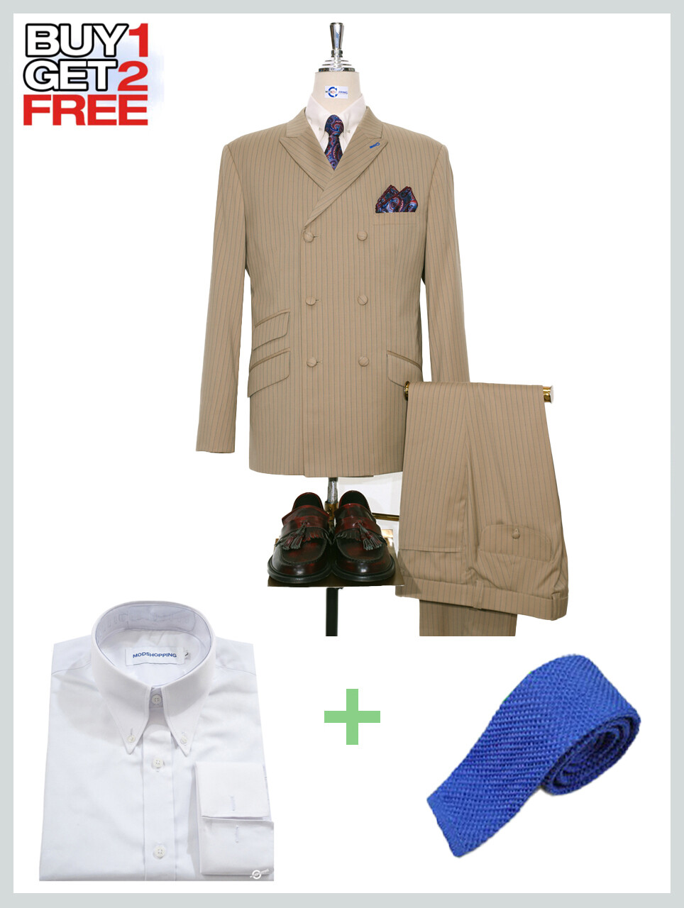 Suit Package | Double Breasted Khaki Pinstripe Mod Suit