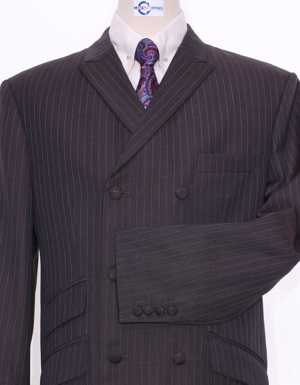 Suit Package   Double Breasted Chocolate Brown Pinstripe Suit
