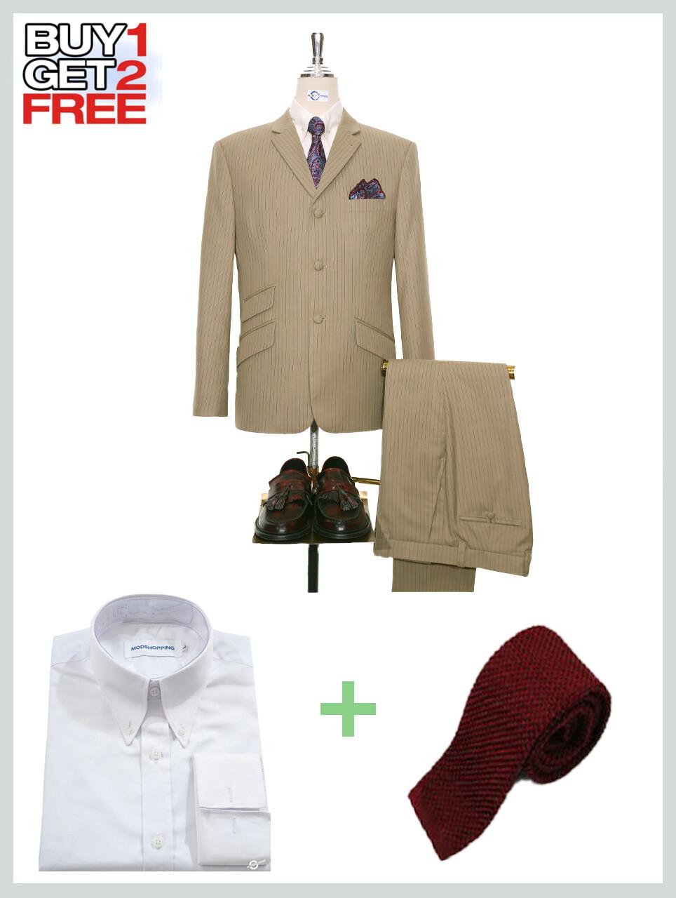 Suit Package    Beige Pinstripe 3 Button Mod Suit