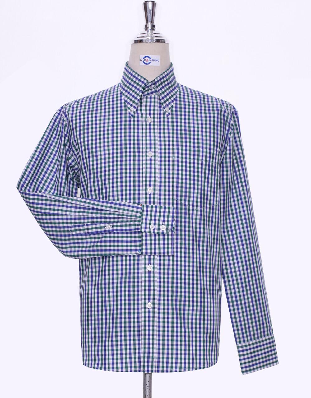 Button Down Shirt Blue And Green Gingham Check Shirt