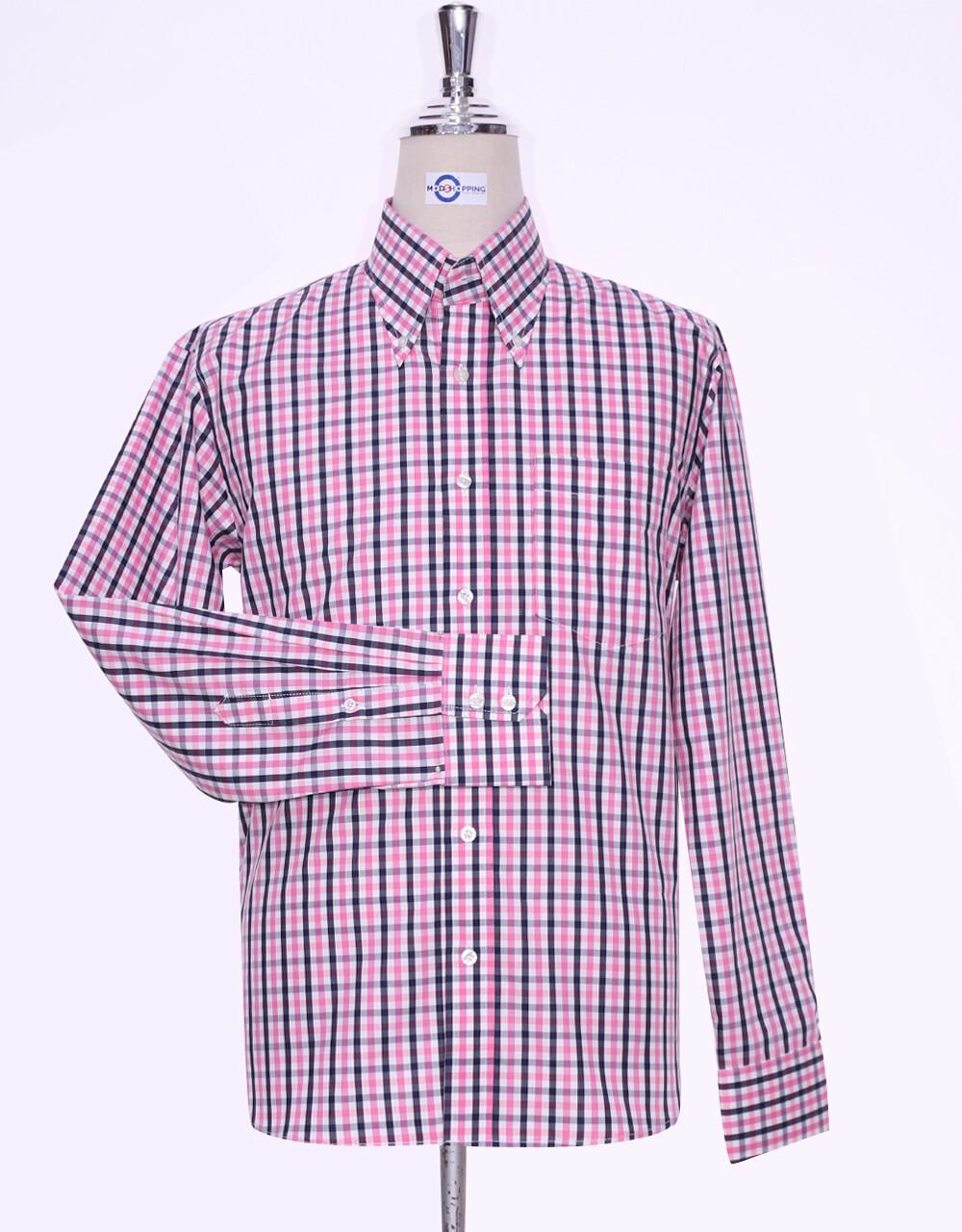 Button Down Shirt Pink And Black Windowpane Check Shirt