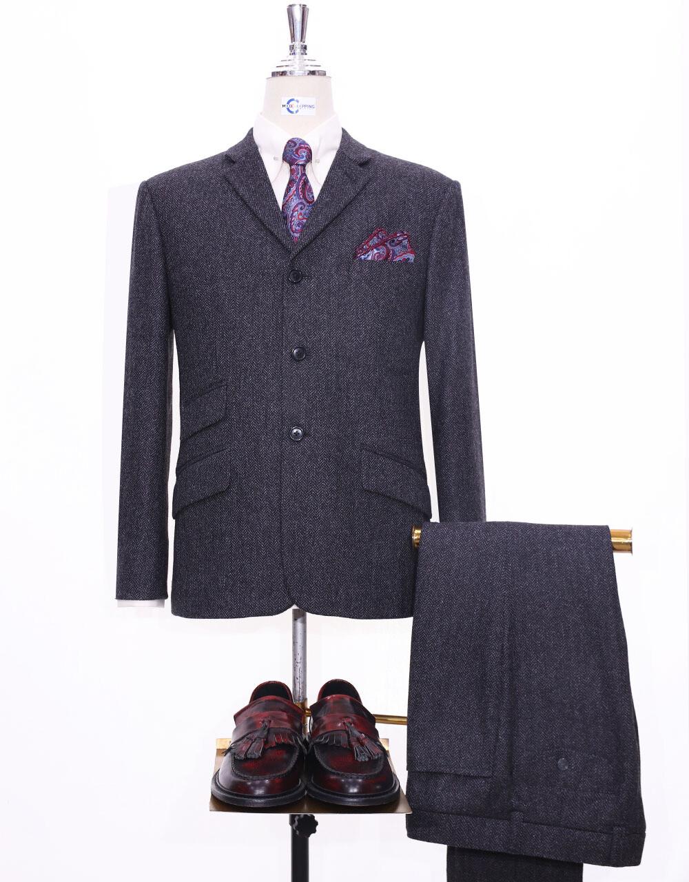 Tweed Suit | Charcoal Grey Herringbone 3 Button Suit