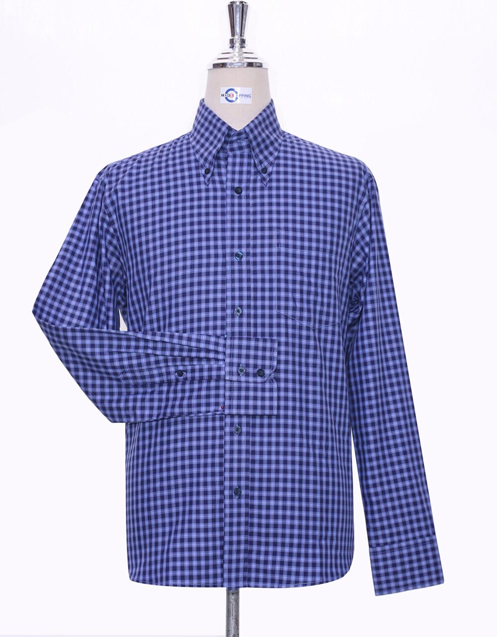 Button Down Shirt Blue Gingham Check Shirt