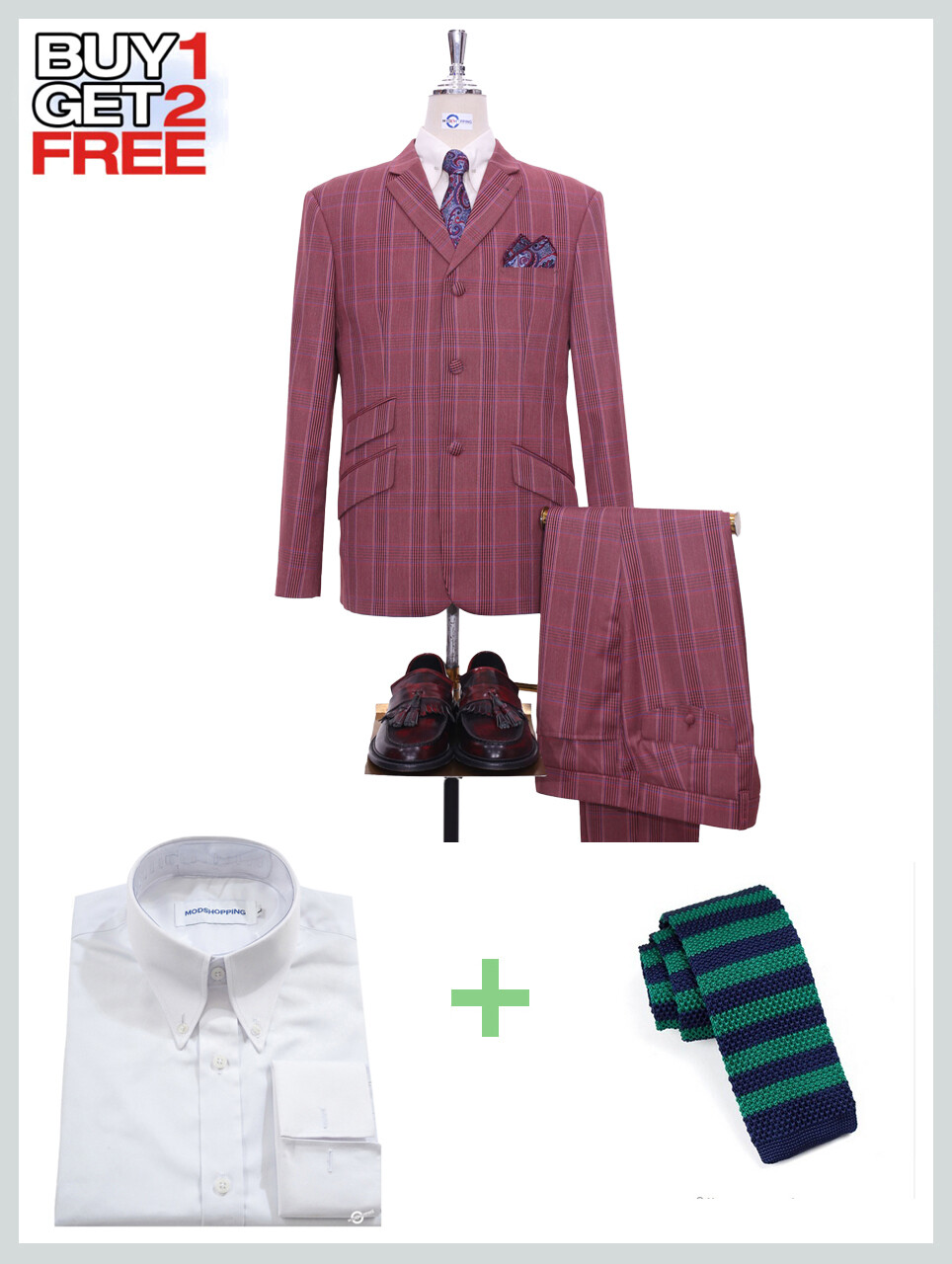 Suit Package | Burnt Red Prince Of Check Suit