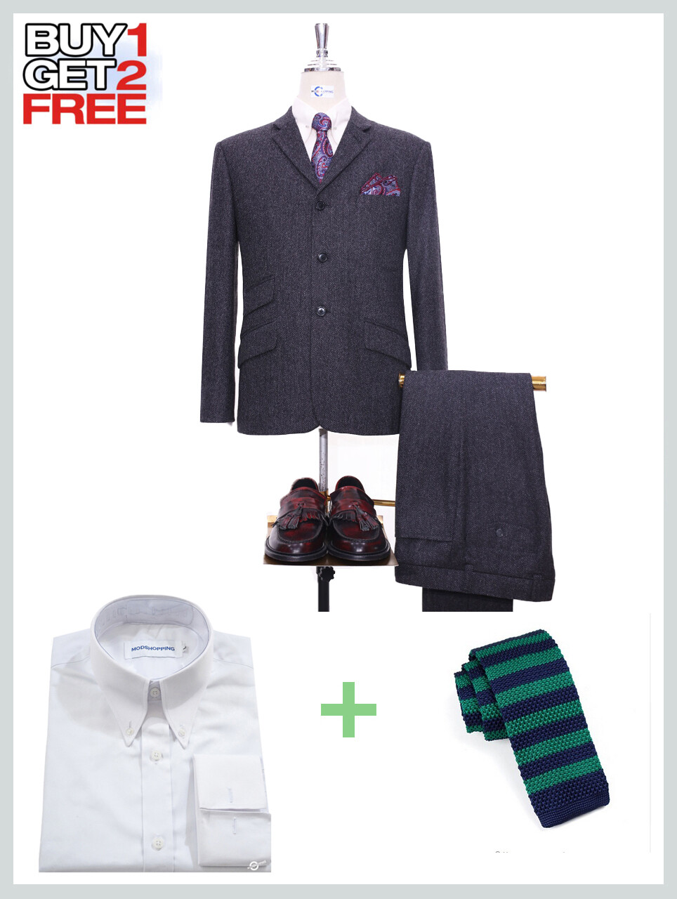Suit Package   Charcoal Grey Herringbone 3 Button Suit