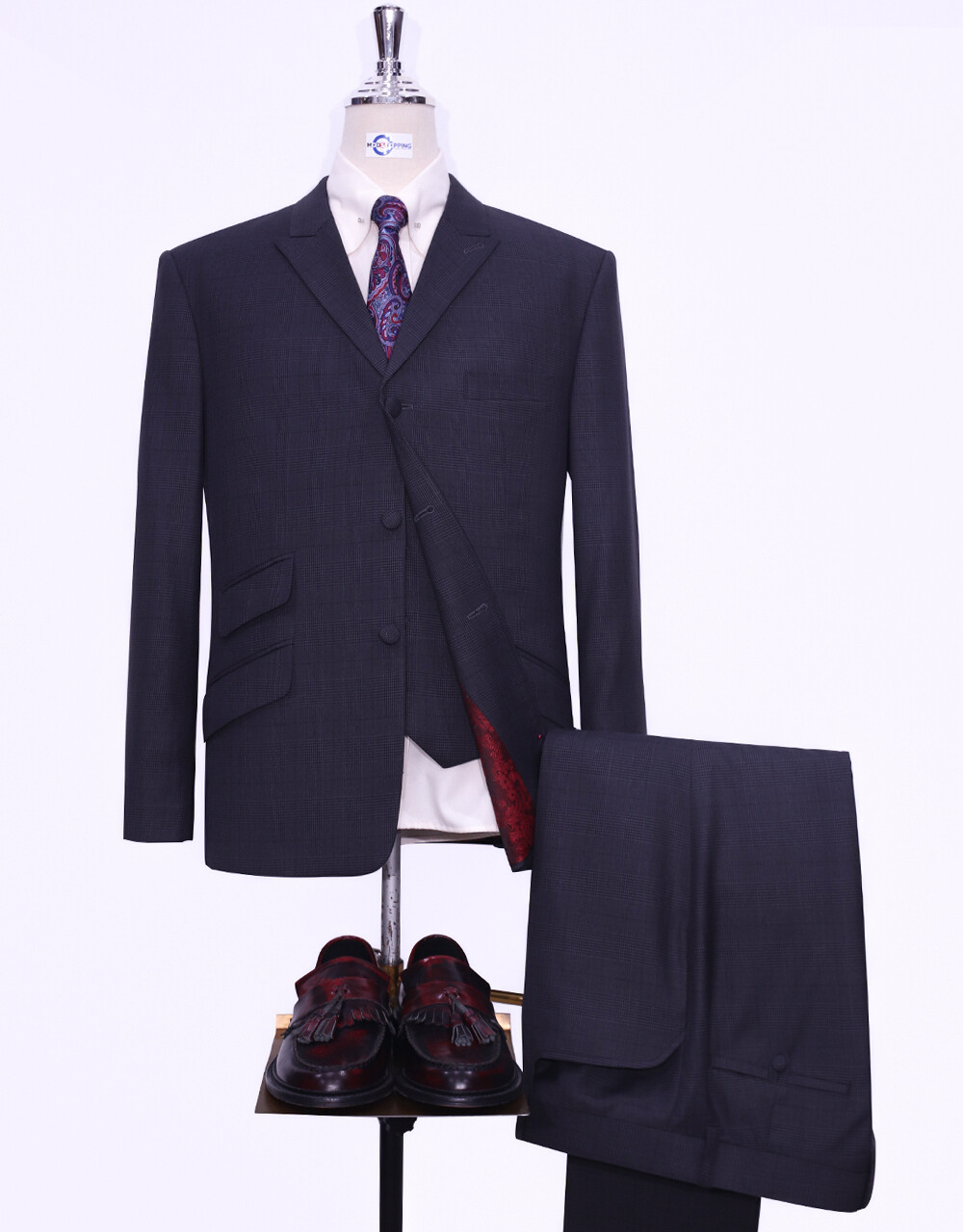 3 Piece Suit   Charcoal Grey Prince Of Wales Check Suit