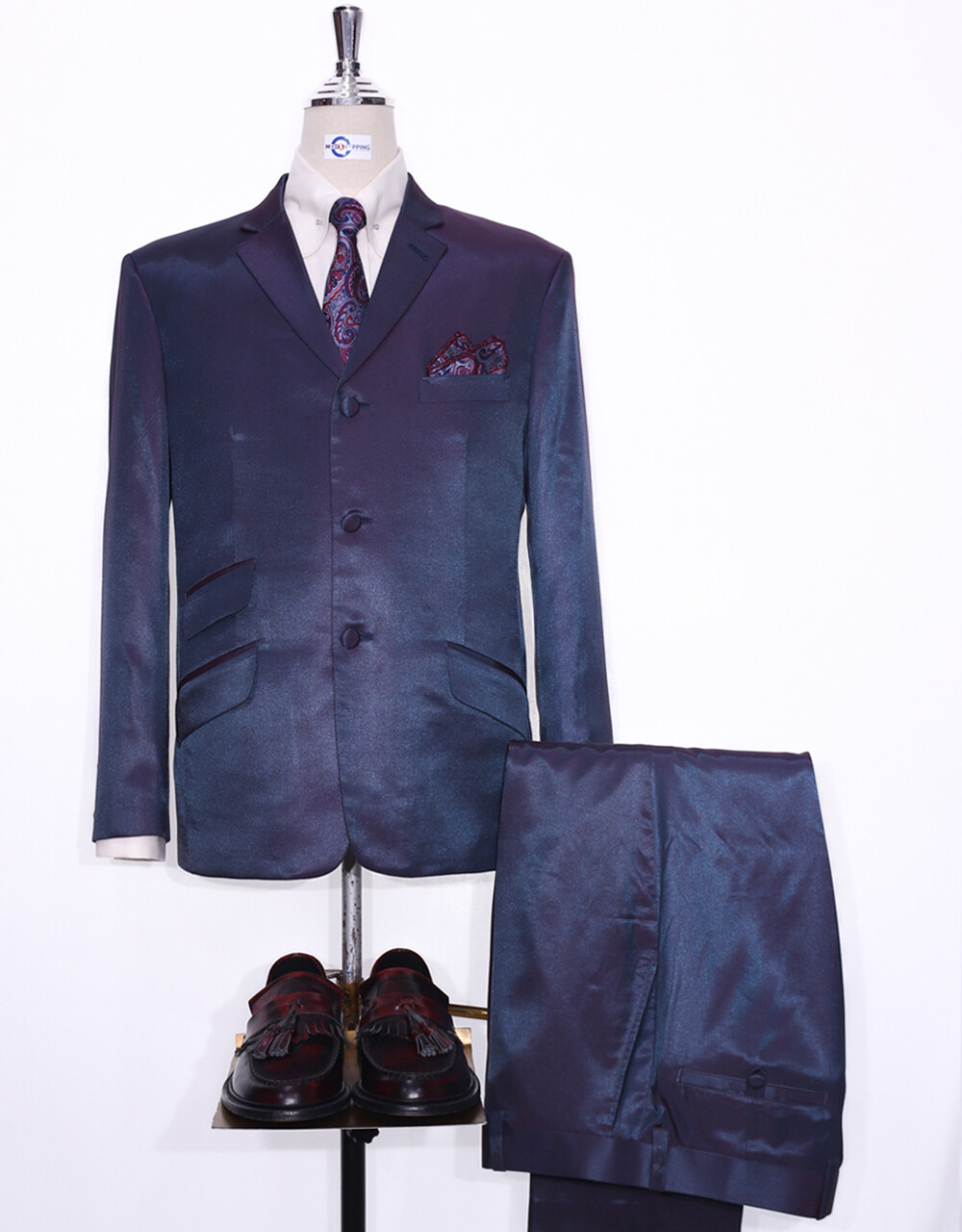 Two Tone Suit   Red And Blue Two Tone Suit For Men's