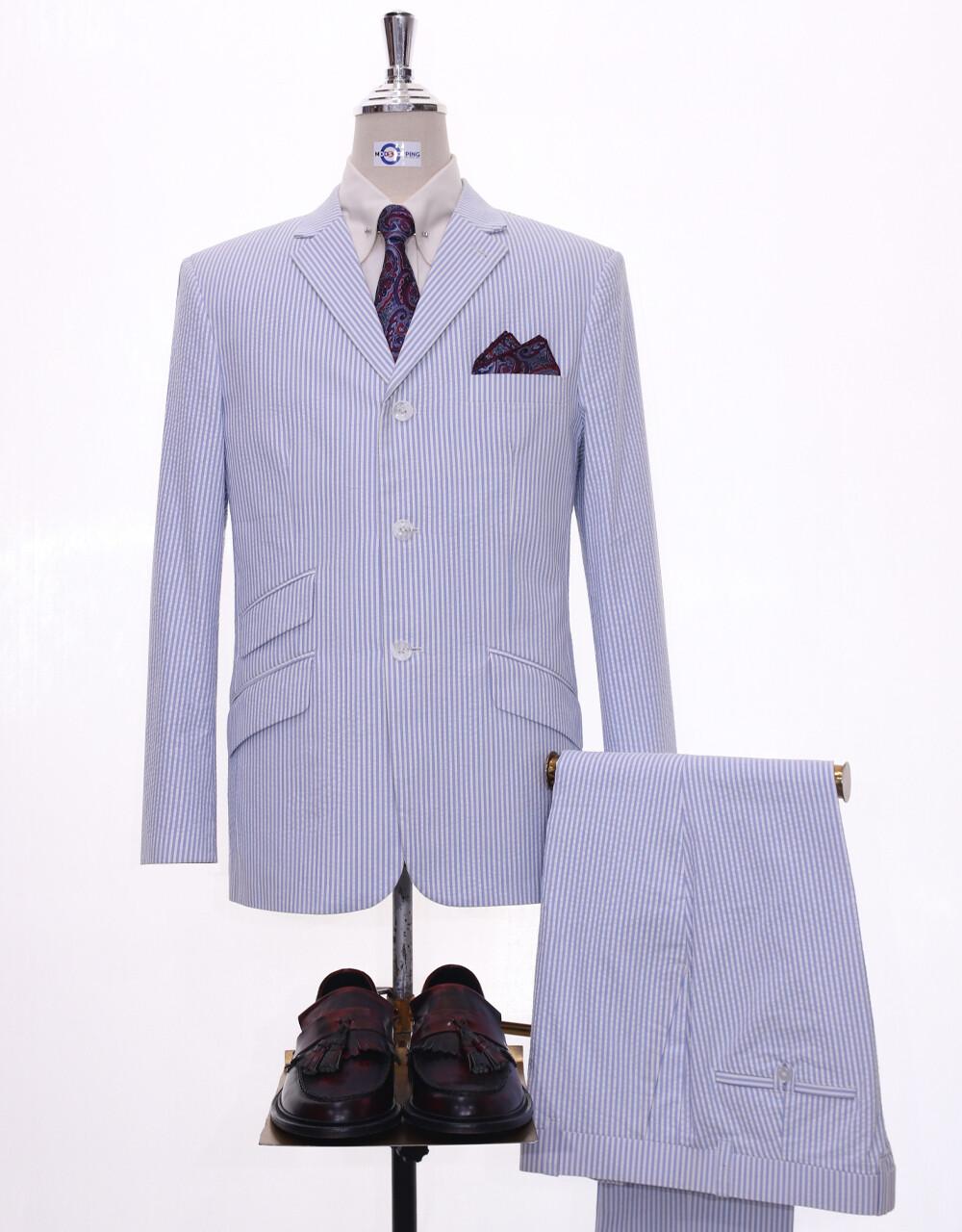 men seersucker suit tailored 3 button mod suit