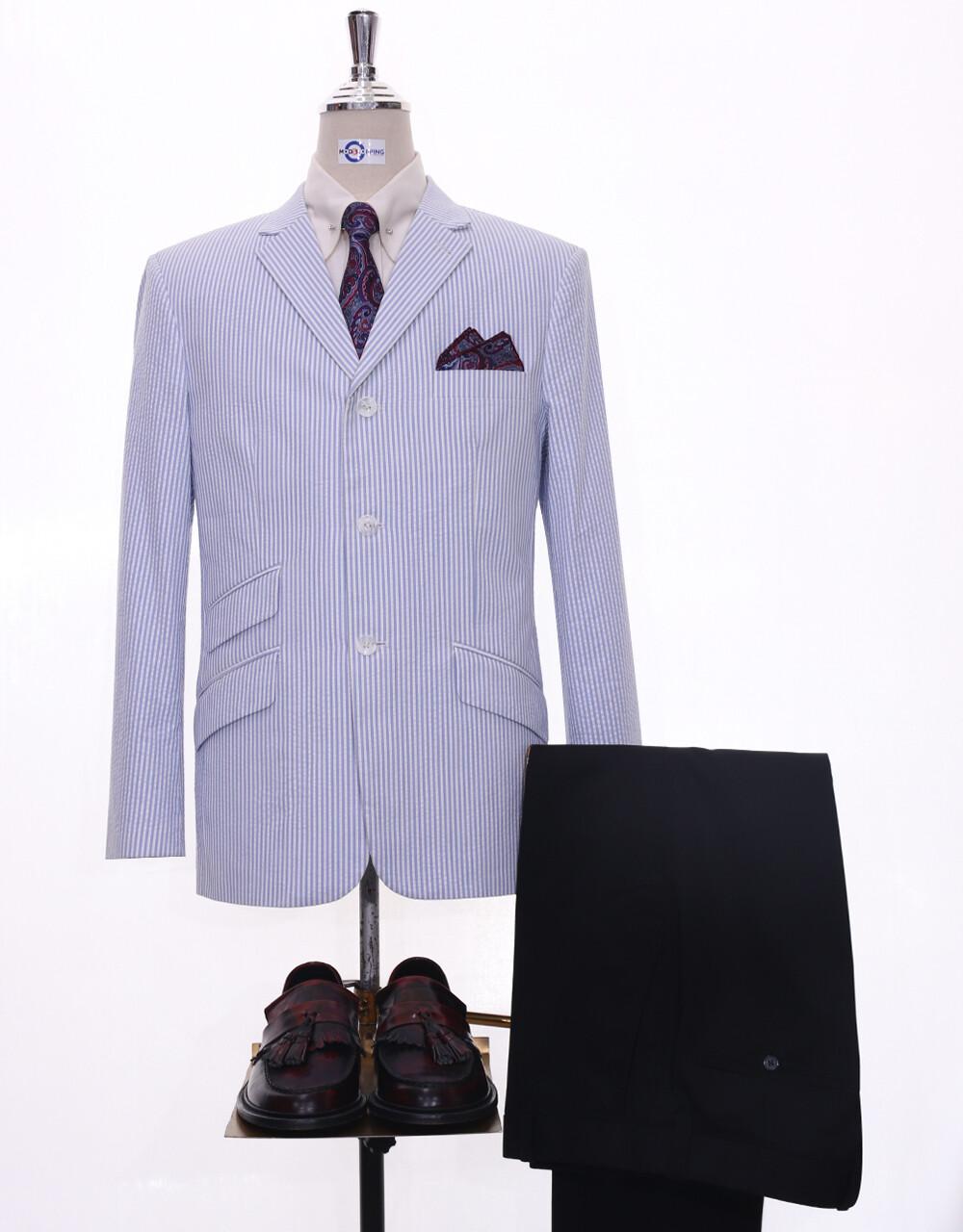 60s Mod Fashion Men Seersucker Sky Blue Summer Jacket