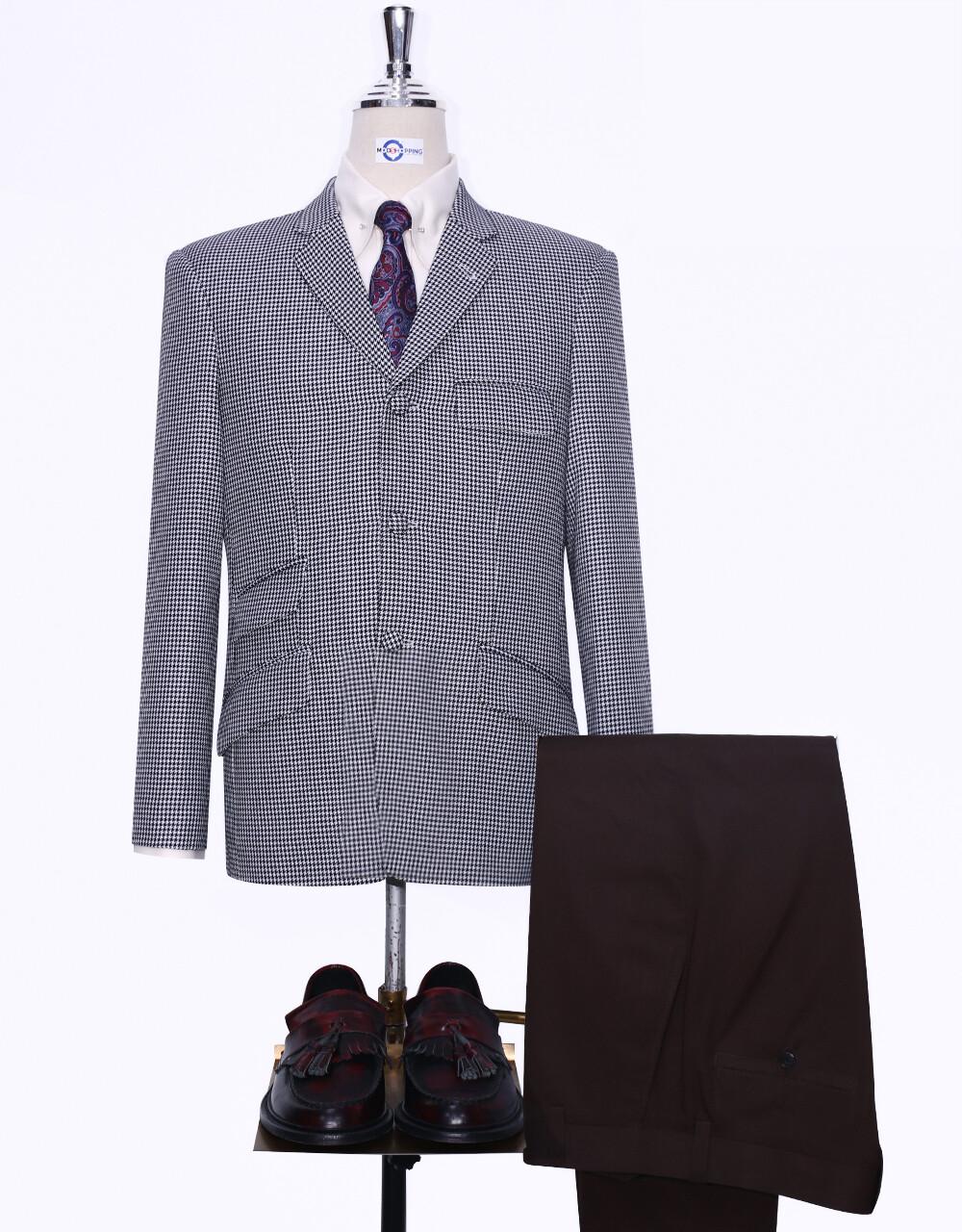 Classic Black & White Houndstooth Mod Blazer Jacket