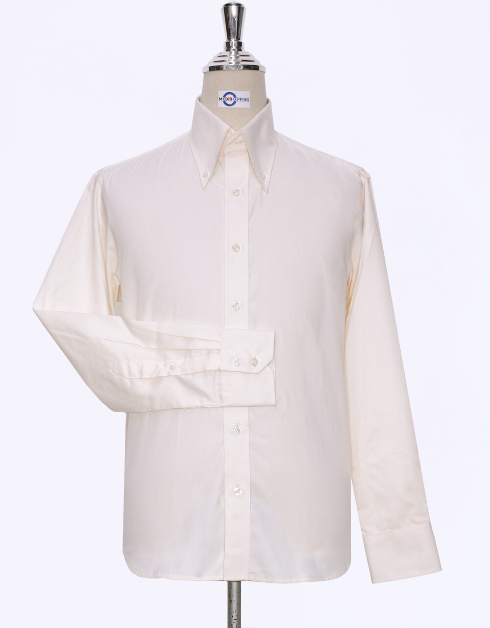 Button Down Collar Shirt   Cream  Color Mens Shirt