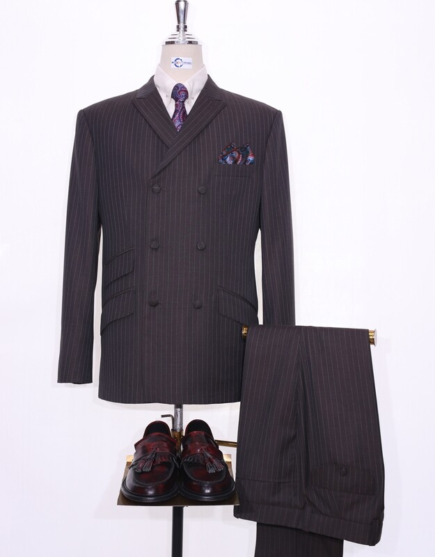 Double Breasted Chocolate Brown Striped Suit Jacket 40R & 34/32 Trouser