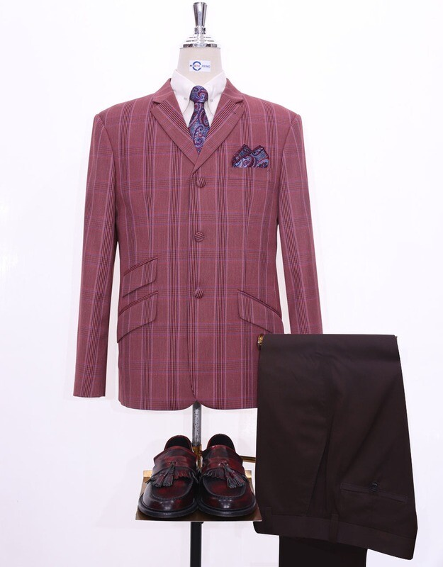 Burnt Brick Prince Of Wales Check Blazer Jacket