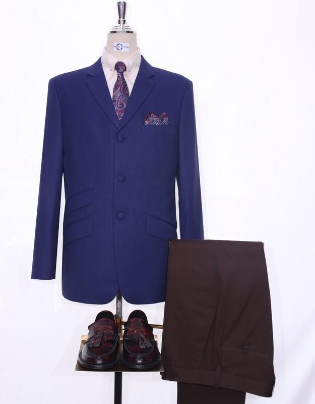 Navy Blue Bird's Eye 3 Button 60s Fashion Blazer Jacket