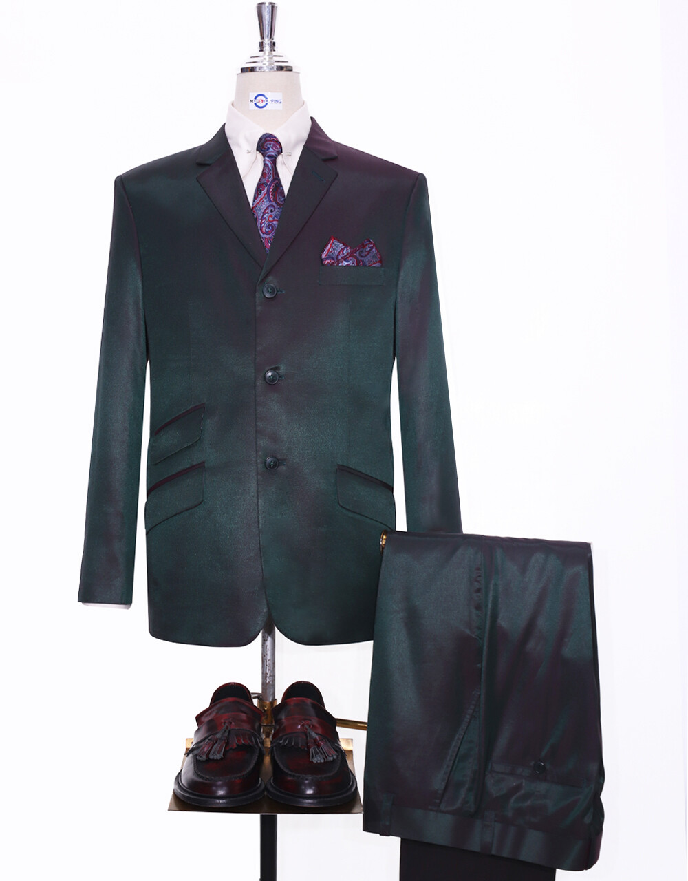 Two Tone Suit   Red & Olive Two-Tone Suit For Men's