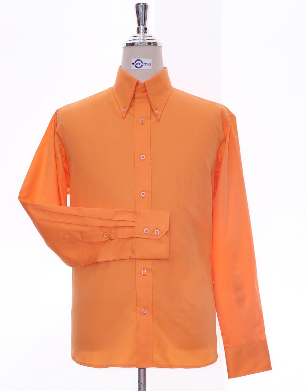 Button Down Collar Shirt | Orange Shirt For Man