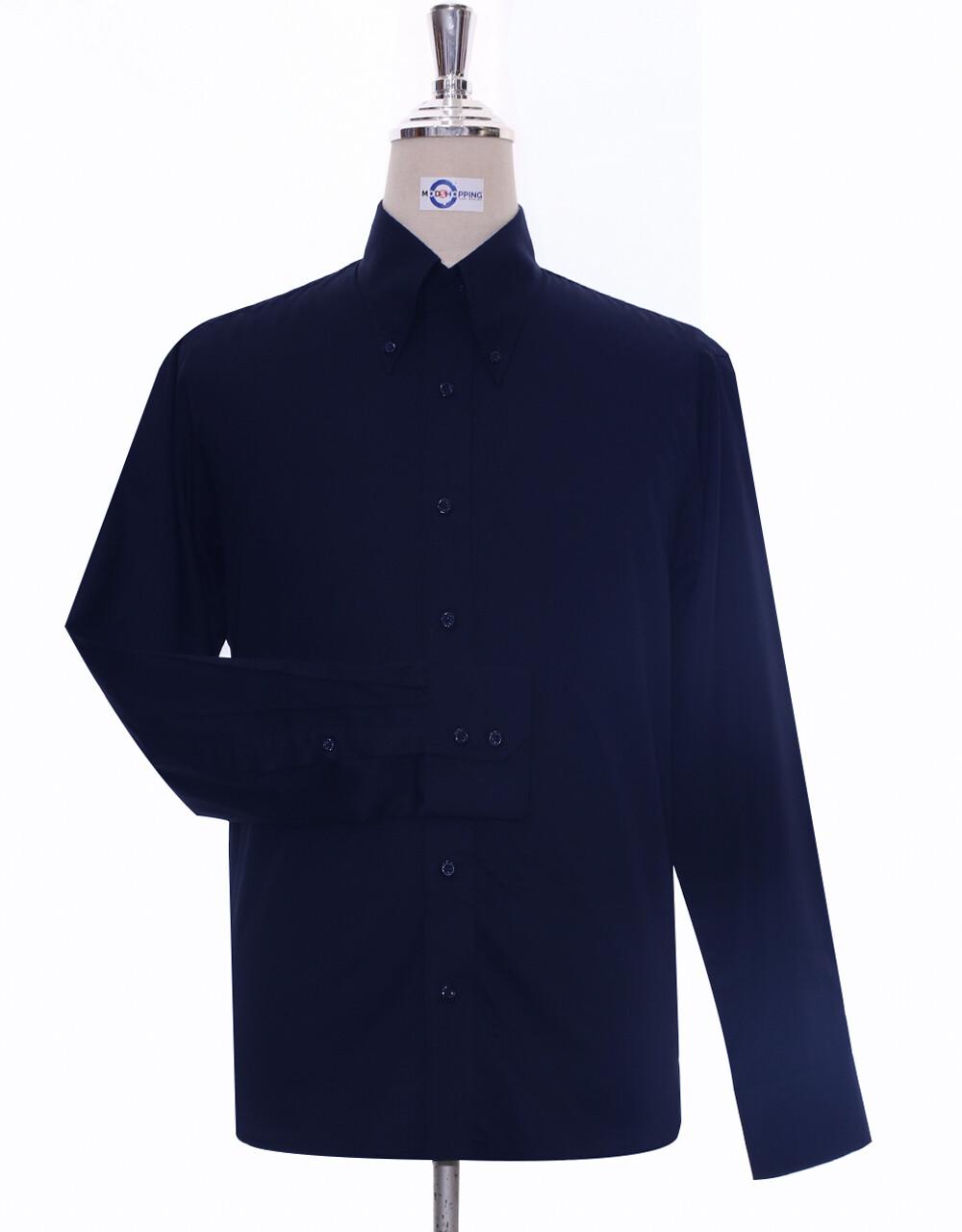 Button-Down Collar Shirt   Navy Blue Shirt For Men