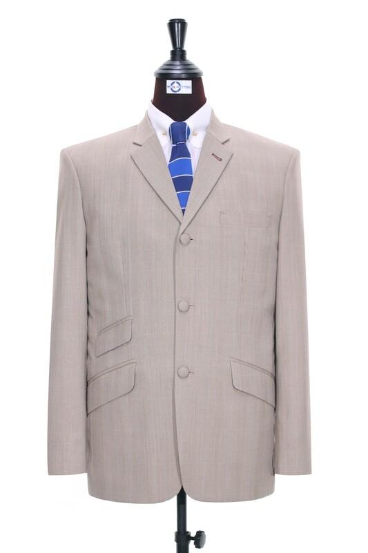 Beige Glen Plaid Check 3 Button Jacket