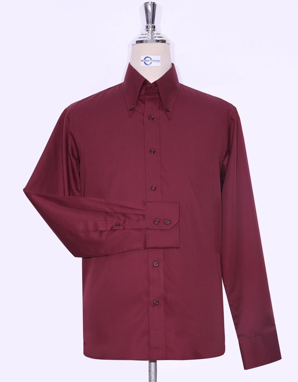 Button-Down Collar Shirt   Burgundy Color Shirt