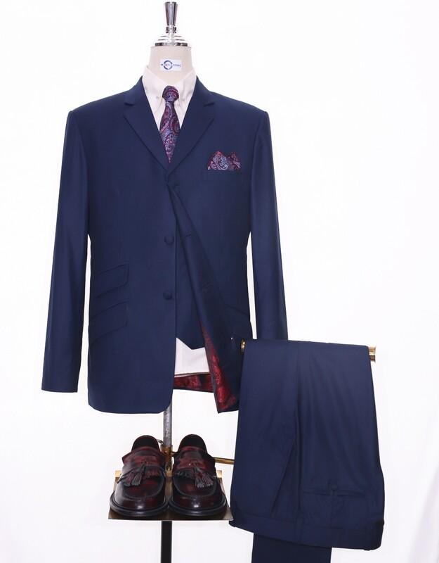 Essential Navy Blue 3 Piece Suit 60s Mod Suit 3 Button Tailored Suit