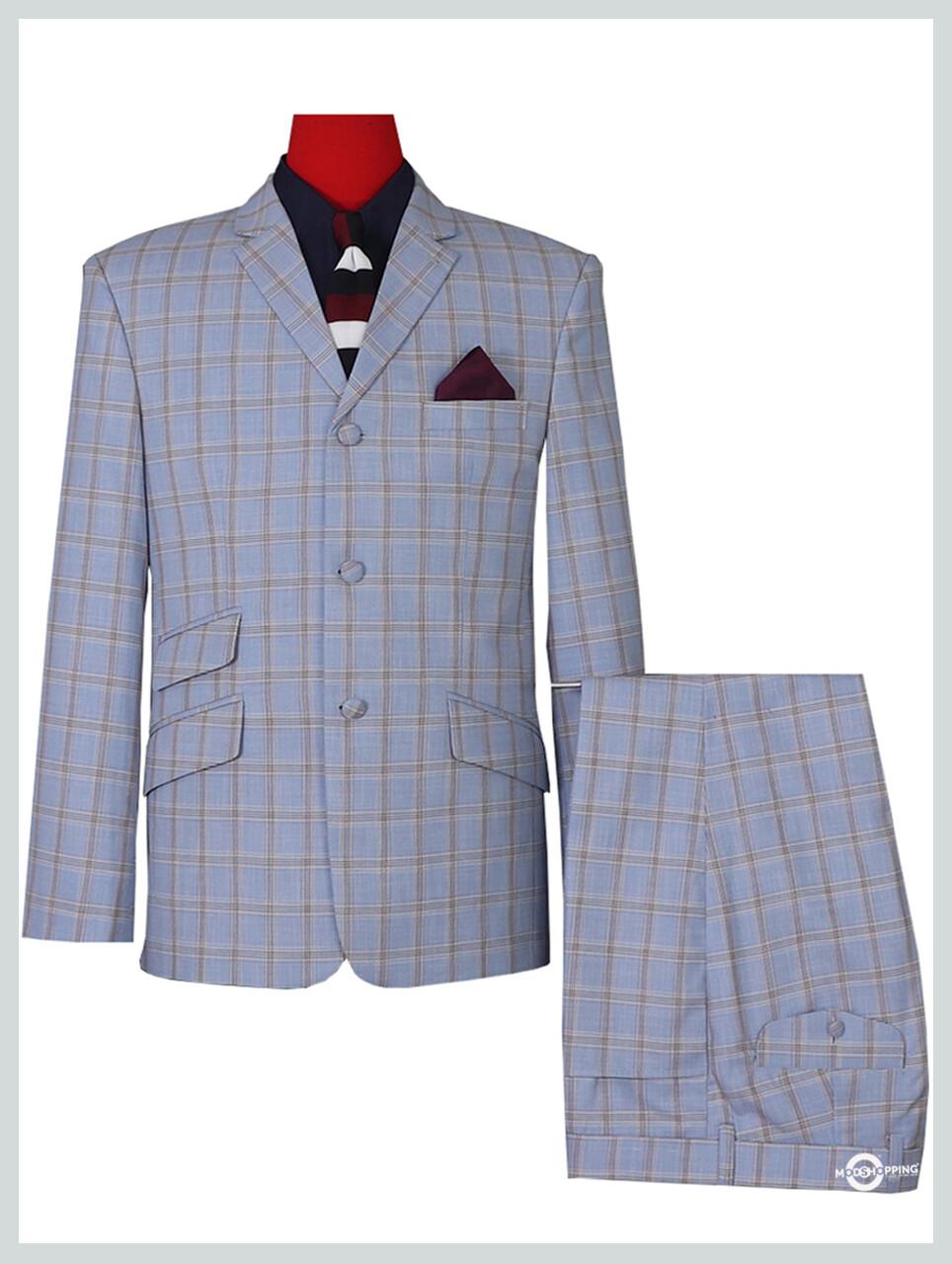 Sky Windowpane Check Mod Suit Vintage Style