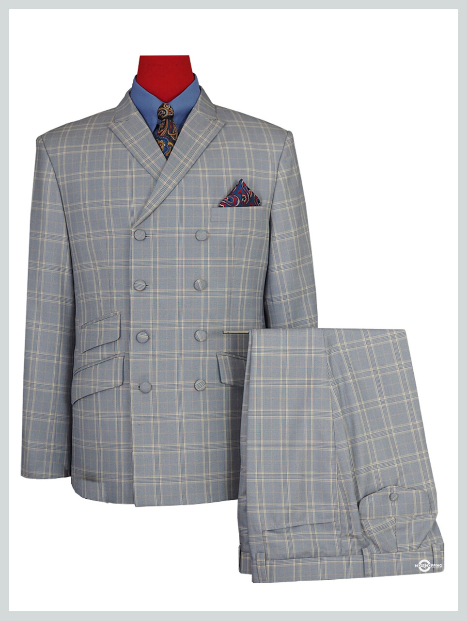 Double Breasted Suit | Light Grey Windowpane Check Suit
