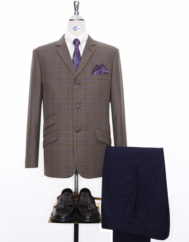 Mod Jacket   Brown Prince Of Wales Check Jacket