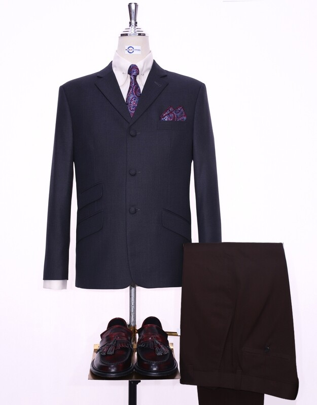 Tailored 3 Button Charcoal Grey Mod Blazer