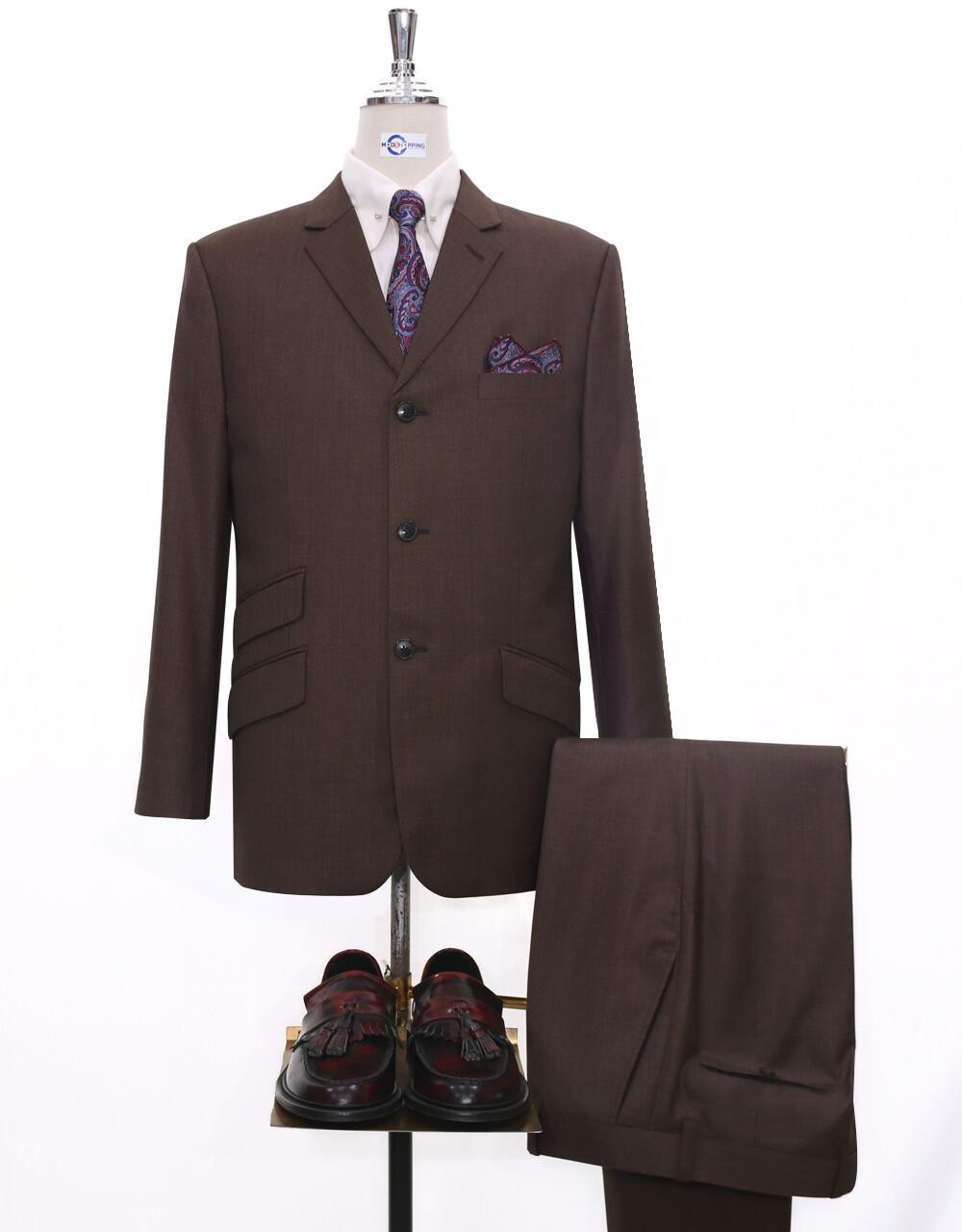 mod suit | tailored 60s fashion 3 button brown suit