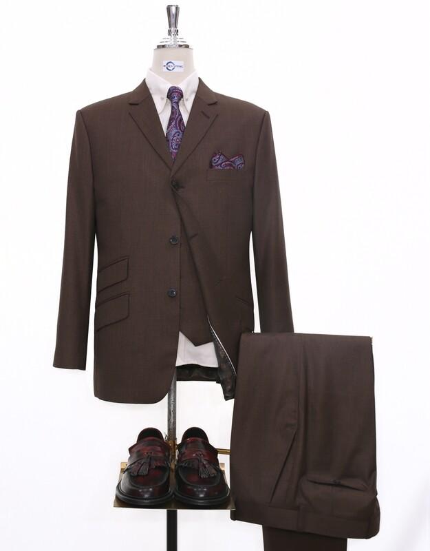 3 Piece Suit    Brown Retro Mod Tailored Suit