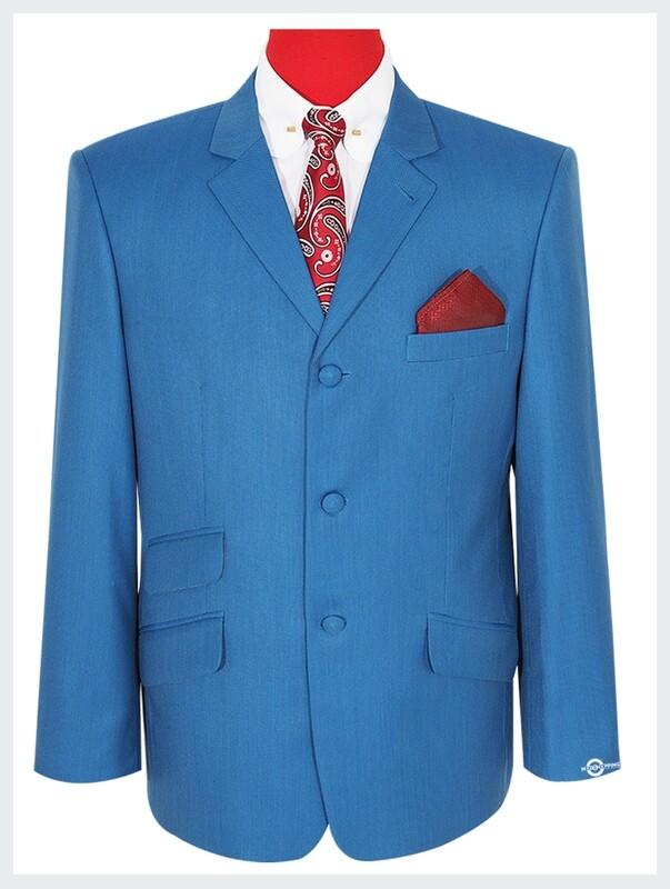 Deep Sky Blue Bird's Eye 3 Button 60s Fashion Blazer Jacket