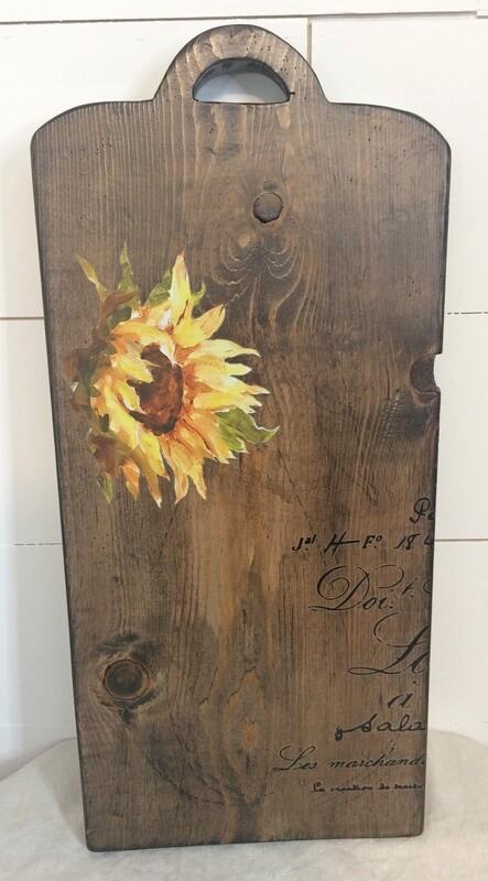 Huge Decorative Handmade Cutting Board w/ Sunflower